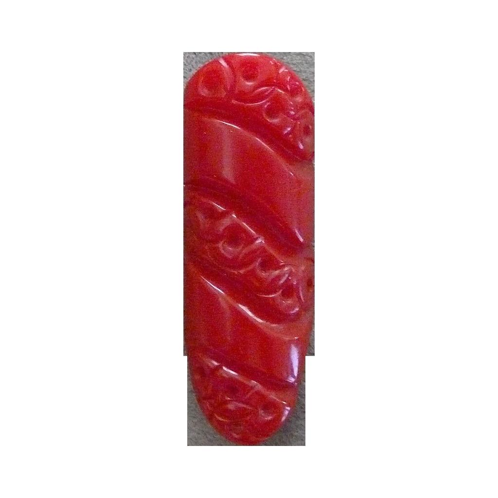 Lipstick Red Carved Bakelite Clip