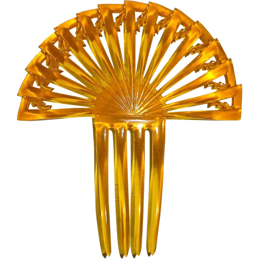 Art Deco Stepped Fan Ornamental Hair Comb