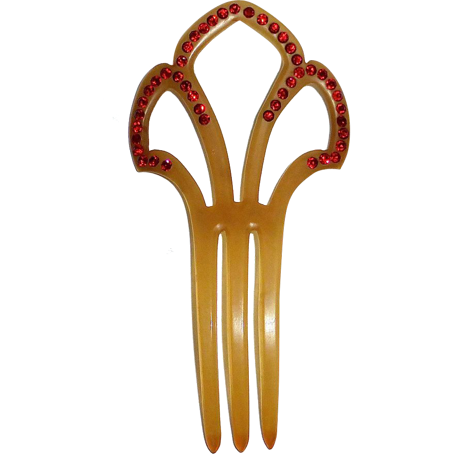 Art Deco Celluloid Hair Ornament Red Paste Stones