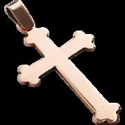 14k Rose Gold Victorian Cross Pendant