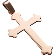 14k Rose Gold Victorian Cross Pendant