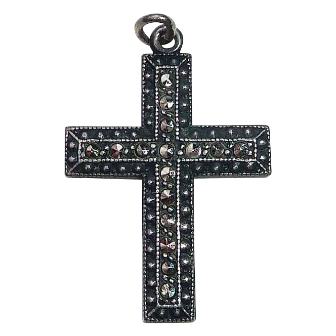 Art Deco Sterling Marcasite Dimensional Cross Pendant