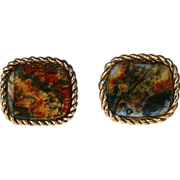 14k Yellow Gold Moss Agate Cufflinks c1950s