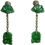 Art Deco 14k Carved Jade & Pearl Earrings