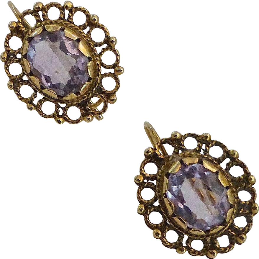14k Etruscan Revival Amethyst Pierced Earrings