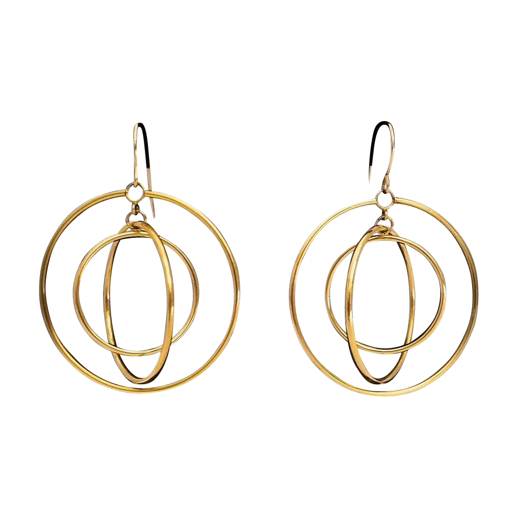 14k Revolving Graduated Circles Sculptural Earrings