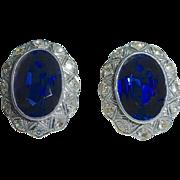 14k Diamond Earrings Synthetic Sapphire