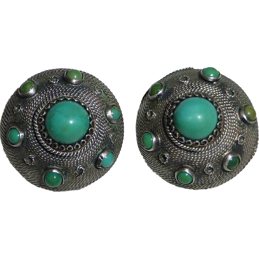 Turquoise & 800 Silver Domed Clip Earrings