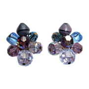 Vibrant Purple to Blue Hattie Carnegie Clip Earrings