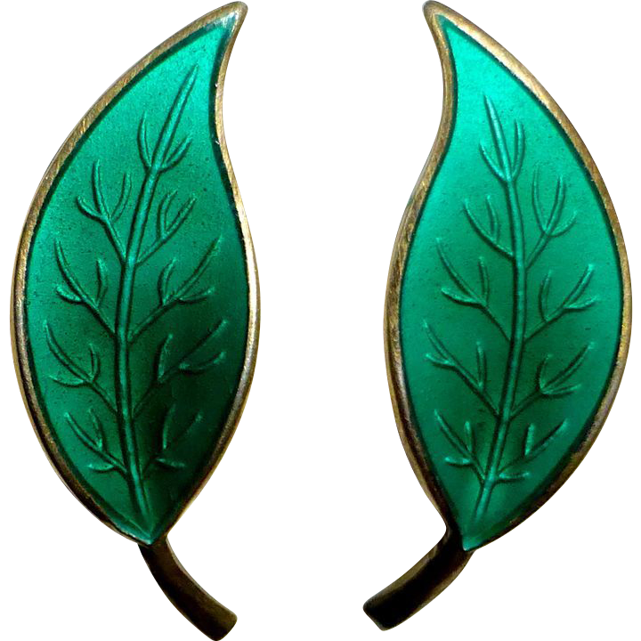 David Andersen Norway Sterling & Enamel Sea Green Leaf Earrings