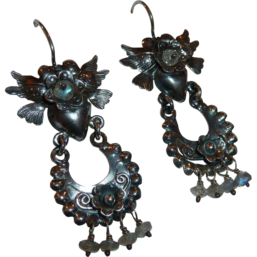 Mexican Sterling Hearts Birds Flowers Pierced Drop Earrings