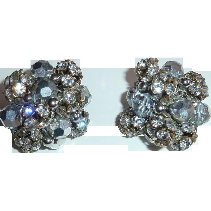 Chunky Vogue Rhinestone & AB Bead Clip Earrings