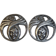 Art Nouveau Style Silver Plate Woman Face Earrings