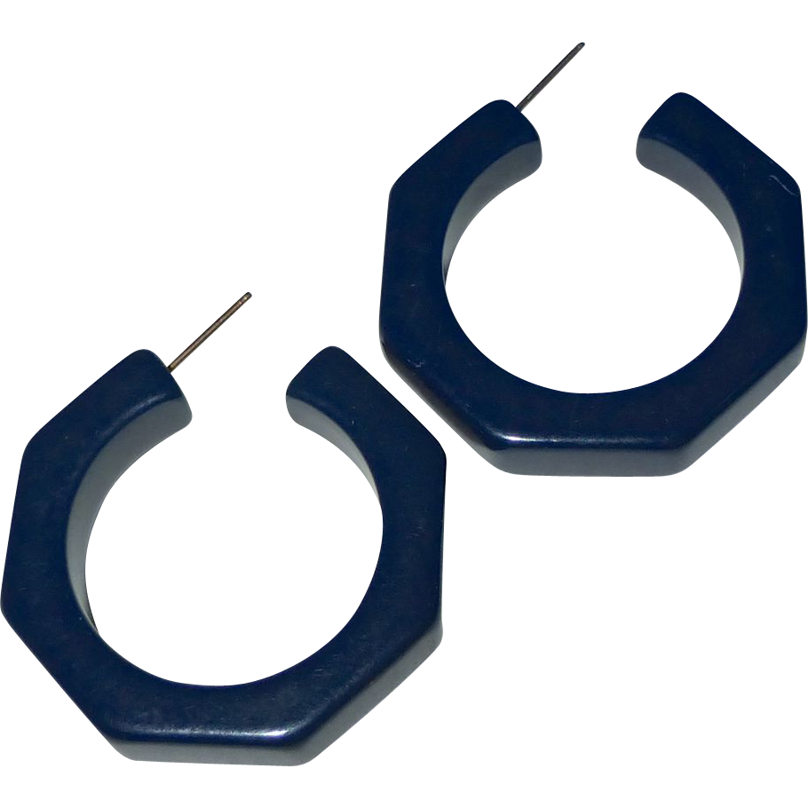 Blue Moon Bakelite Vintage Storestock Pierced Octagon Hoop Earrings