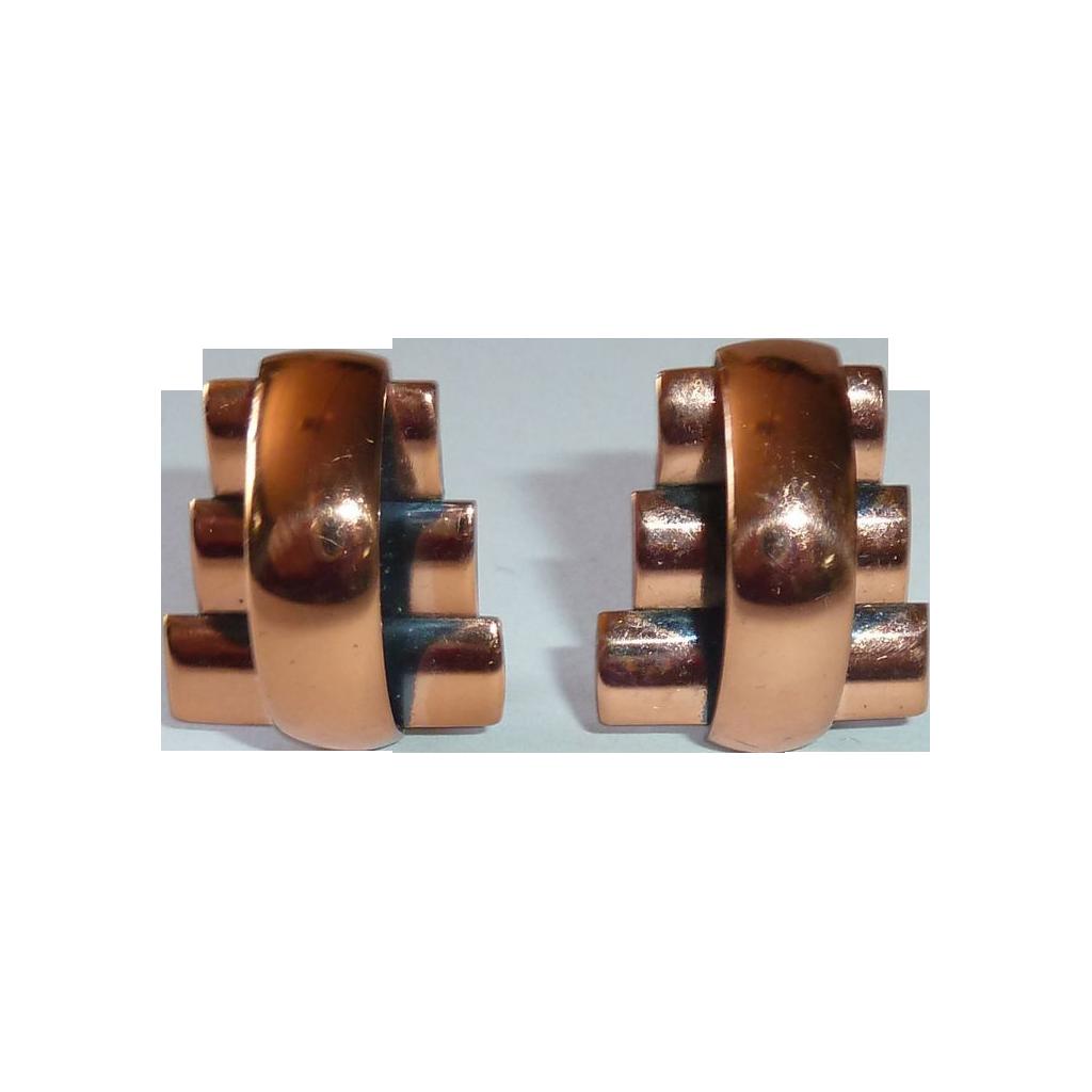 Renoir Gleaming Copper Modernist Design Clip Earrings