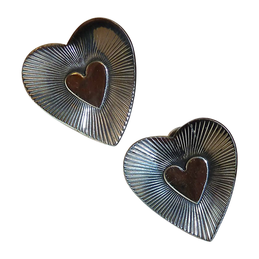 Danecraft Sterling Heart Screw Earrings
