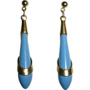 Art Deco Light Blue Teardrop w Pierced Brass