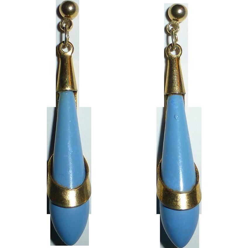 Art Deco Light Blue Teardrop w Pierced Brass