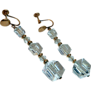 Gold Filled Screw Back Crystal Polygon Bead Drop Earrings