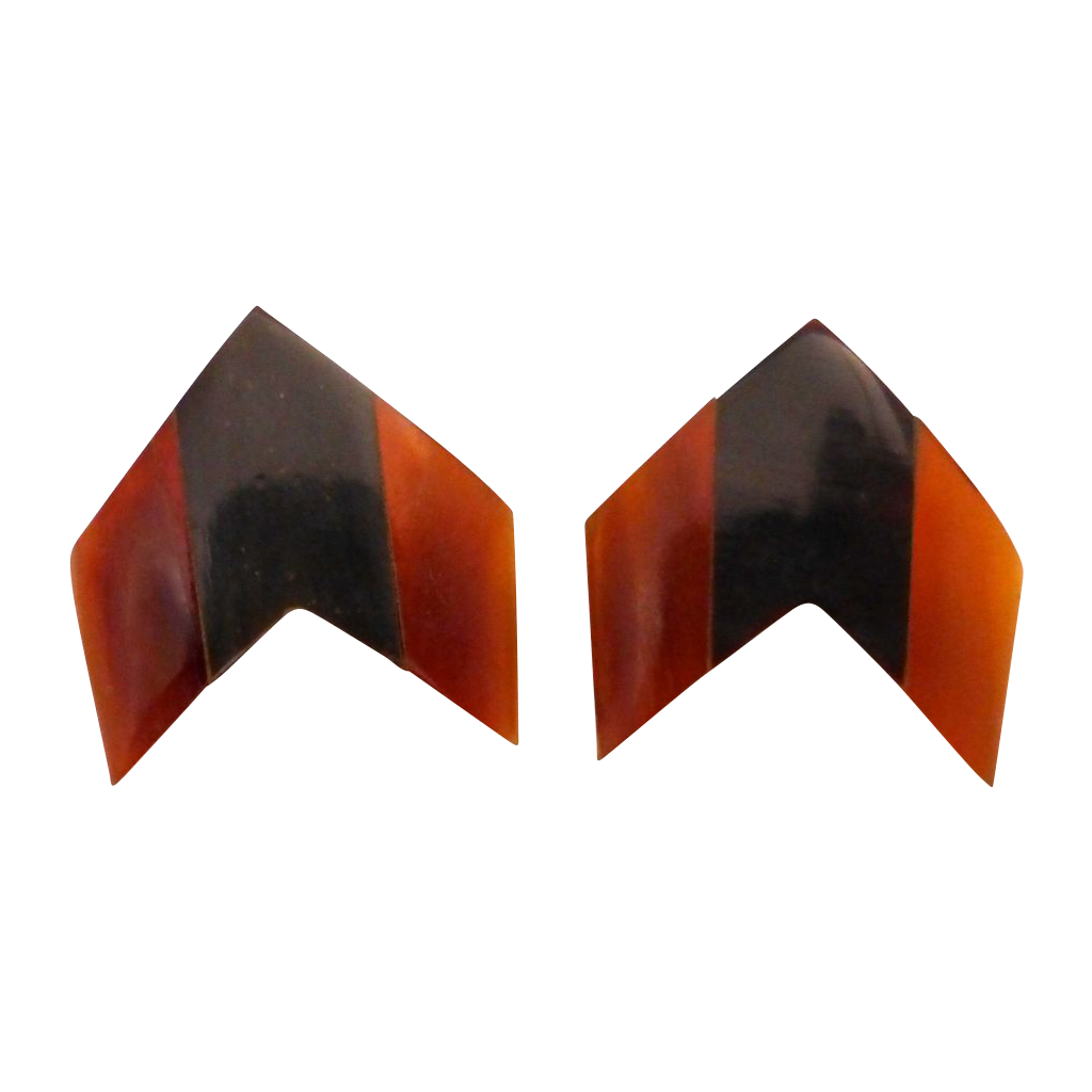 Laminated Natural Horn Chevron Earrings