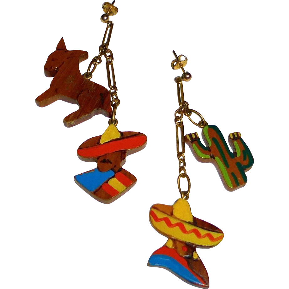 Mexican Theme Painted Wood & Gold Filled Drop Earrings
