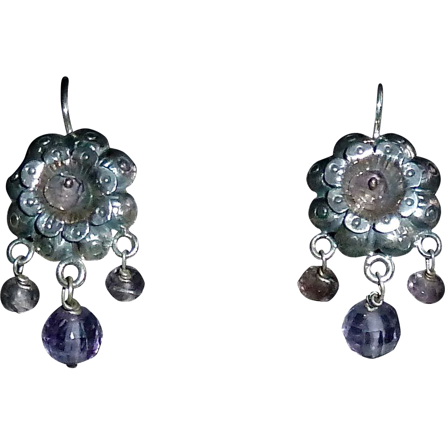 Mexican Sterling Pierced Repousse Flower Earrings Amethyst Beads