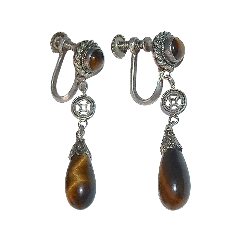 Chinese Sterling Tiger Eye Teardrop Earrings