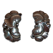 Georg Jensen Sterling Double Leaf Clip Earrings
