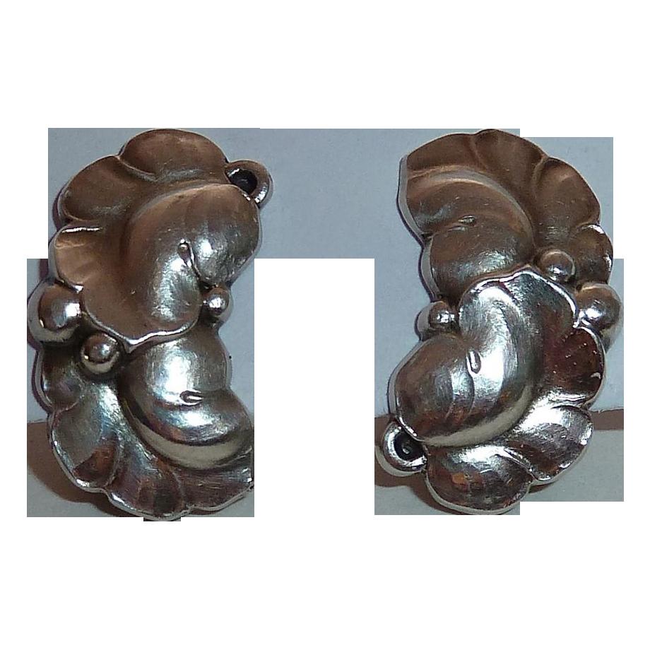 Georg Jensen Sterling Double Leaf Clip Earrings