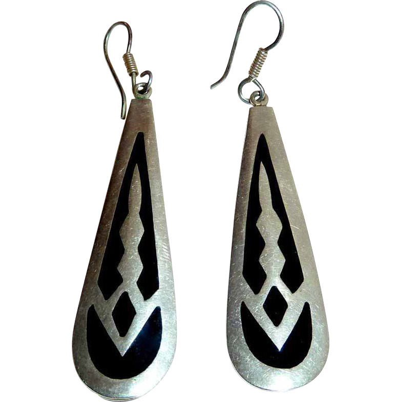 Mexican Sterling & Enamel Long Teardrop Earrings