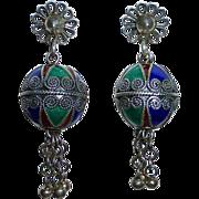 Sterling & Enamel Ethnic Drop Earrings