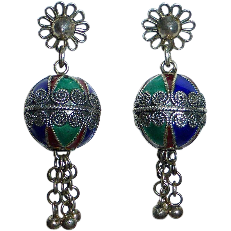 Sterling & Enamel Ethnic Drop Earrings