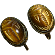 Egyptian Revival Carved Tiger Eye Scarab GF Screw Earrings