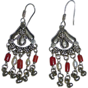 Sterling Coral Fresh Water Pearl Ethnic Chandelier Earrings