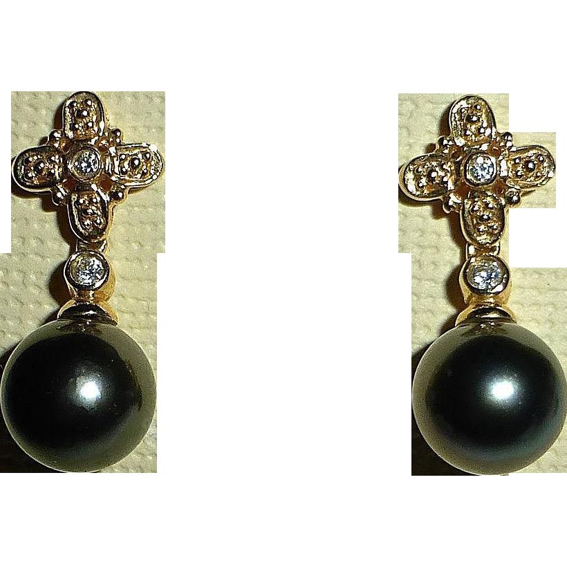 14k Yellow Gold Cultured Black Pearl Diamond Pierced Earrings