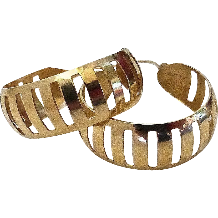 14k Pierced Wide Hoop Earrings Geometric Design