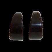 Dark Brown Bakelite Vintage Storestock Wide Hoop Earrings