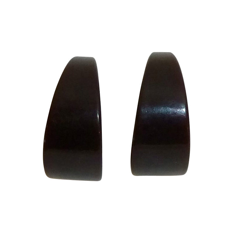 Dark Brown Bakelite Vintage Storestock Wide Hoop Earrings