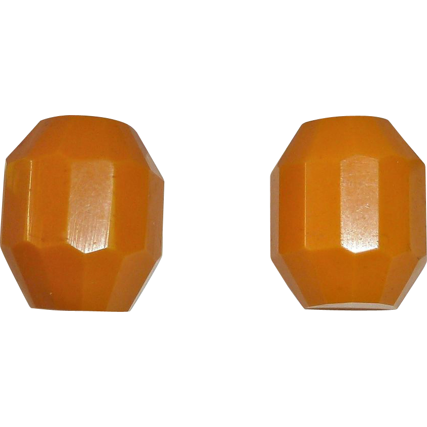 Faceted Butterscotch Bakelite Barrel Screw Earrings