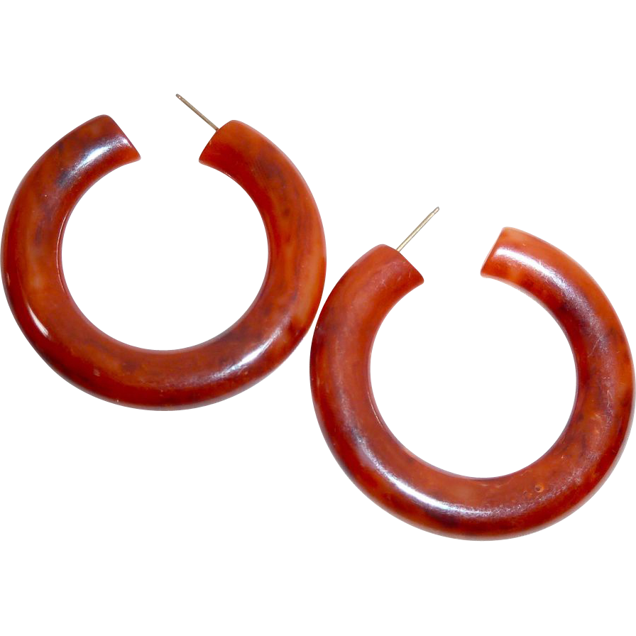 Vintage Storestock Orange Bakelite Pierced Hoop Earrings