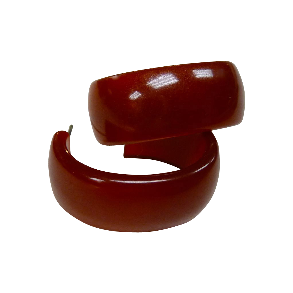 Red-Brown Bakelite Vintage Storestock Oval Hoop Post Earrings