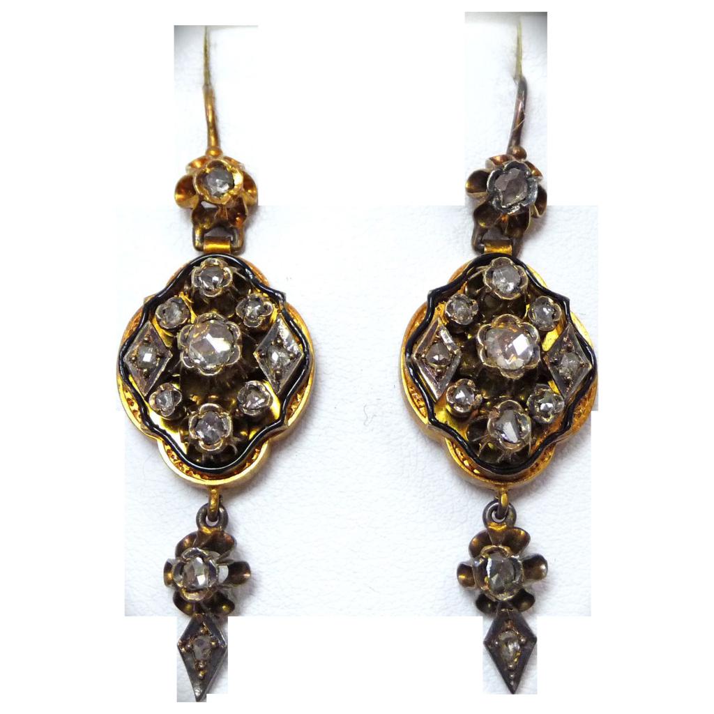 Georgian 14k Rose Cut Diamond Drop Earrings