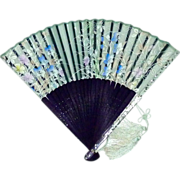 Hand Held Fan Confetti Lucite-Wood-Organza Silk Screened Floral