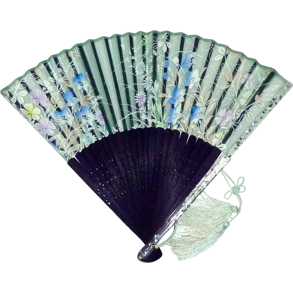 Hand Held Fans : Hand held fan confetti lucite wood organza silk screened