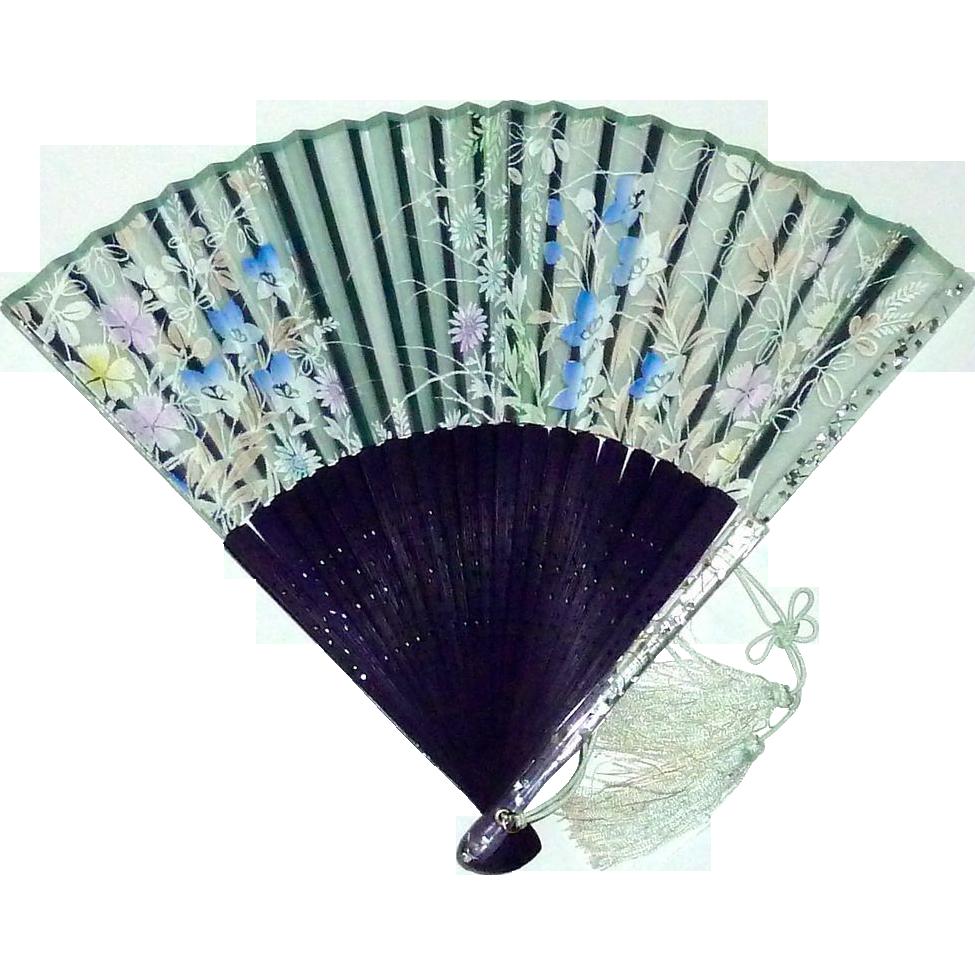 Portable Hand Fan : Hand held fan confetti lucite wood organza silk screened