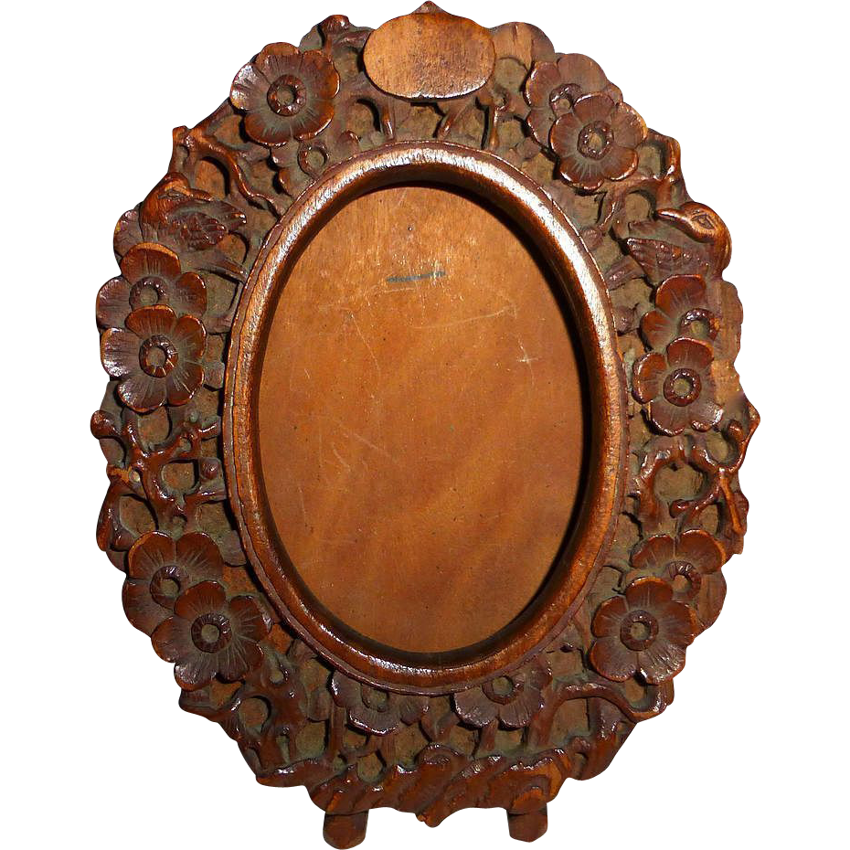 Carved Floral Design Wood Oval Frame