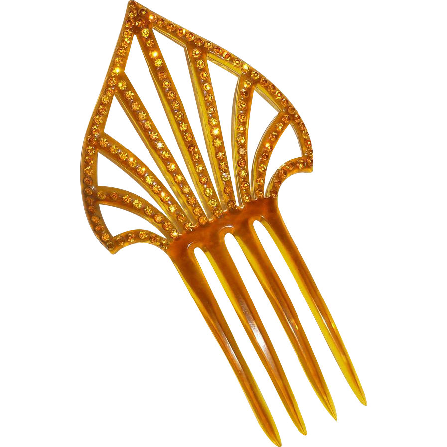 Art Deco Celluloid Hair Ornament Amber Rhinestone