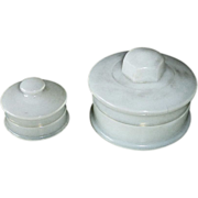 Pair of Milk Glass Vanity Lidded Jars
