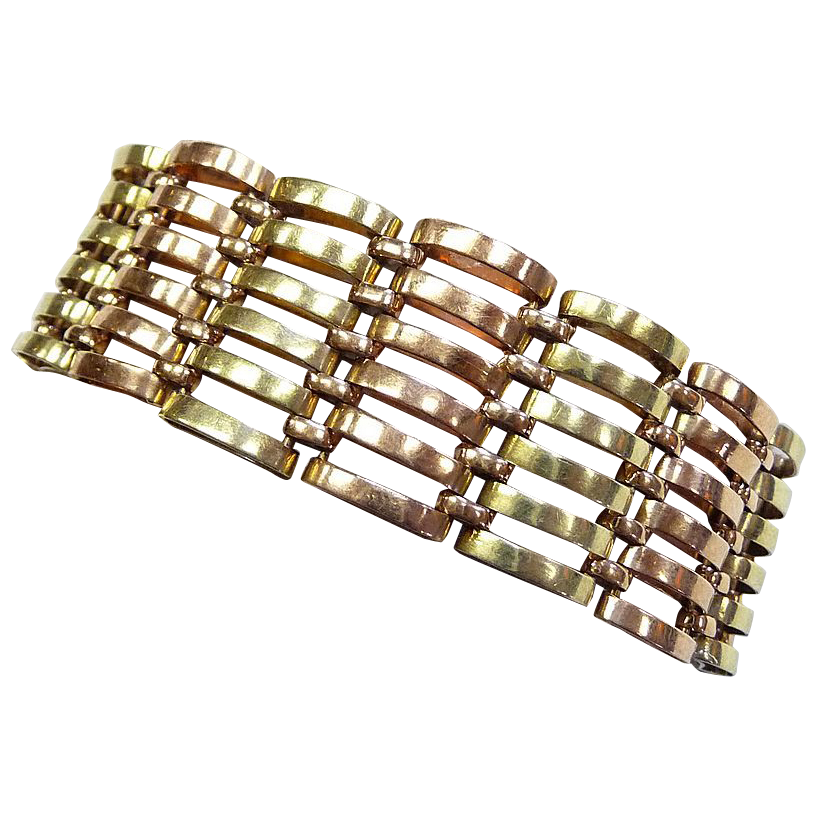 Superb art deco rose green gold wide link bracelet sold for Deco maison rose gold