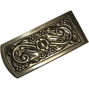 Embossed Floral Design Brass Money Clip
